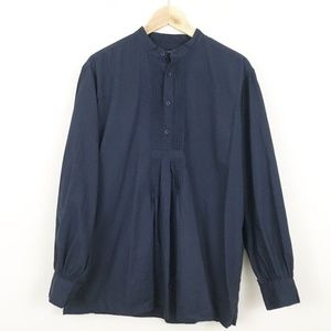 J Peterman Blue Poet Shirt Bishop Sleeve